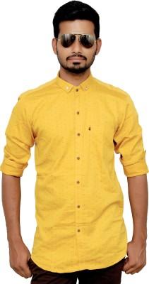 MIKS STUDIO Men's Printed Wedding, Casual Yellow Shirt