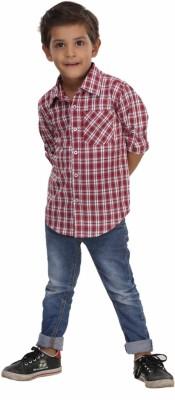 Trmpi Boy's Checkered Casual Red Shirt