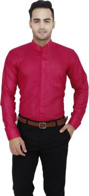LEAF Men's Solid Formal Pink Shirt