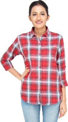 LondonHouze Women's Checkered Casual Red Shirt
