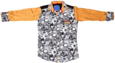 Kidicious Boy's Printed Casual Grey, Black, Brown Shirt