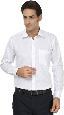 Jainish Men's Solid Formal White Shirt
