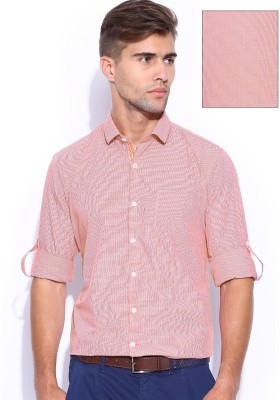 Mast & Harbour Men's Checkered Formal Red Shirt