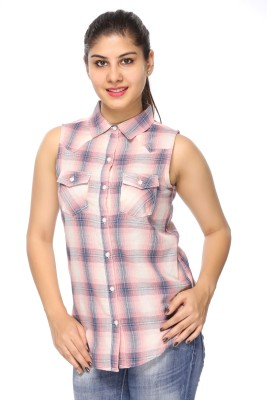 Fashion By Netanya Women's Checkered Casual Pink Shirt