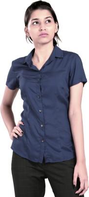 Eighteen27 Women's Solid Casual Blue Shirt