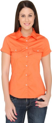 The Apparel Quotient Women's Embellished Casual Orange Shirt