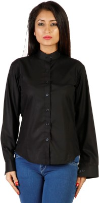 Hugo Chavez Women's Solid Formal Black Shirt