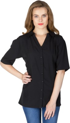 Instinct Women's Solid Casual Black Shirt