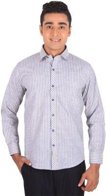 Henry Spark Men's Striped Formal Purple Shirt