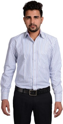 Riwas Collection Men,s Striped Formal Blue, White Shirt