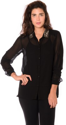 Urban Religion Women's Solid Party Black Shirt