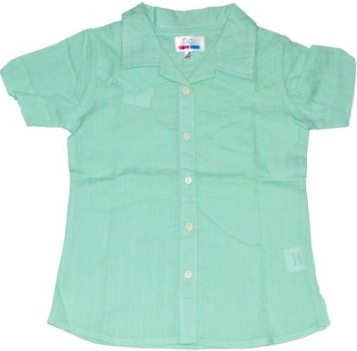 Young Birds Girl's Solid Casual Green Shirt