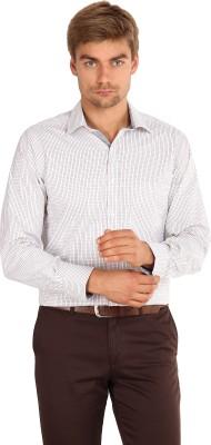 I-Voc Men's Checkered Formal White, Brown Shirt