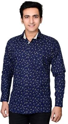 Mensfield Men's Floral Print Casual Dark Blue Shirt