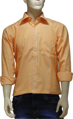 EXIN Fashion Men's Striped Formal Orange, White Shirt