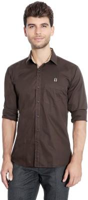 Flyjohn Men's Solid Casual Brown Shirt