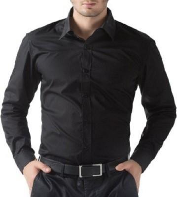 MAKHKHA Men's Solid Formal Black Shirt