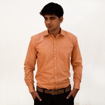 Broom Clothings Men's Solid Formal Orange Shirt