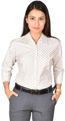 LGC Women's Printed Formal White Shirt