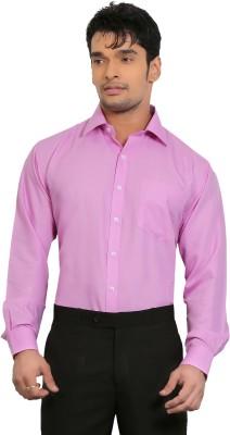 A & C Signature Men's Solid Formal Pink Shirt