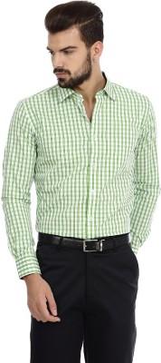Genesis Men's Checkered Casual Green Shirt