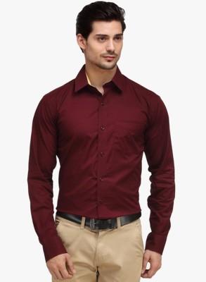Shine Shirts Men's Solid Formal Maroon Shirt