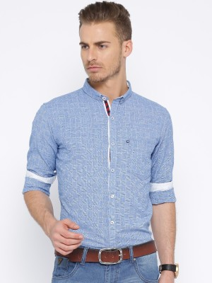 Harvard Men's Checkered Casual Blue Shirt