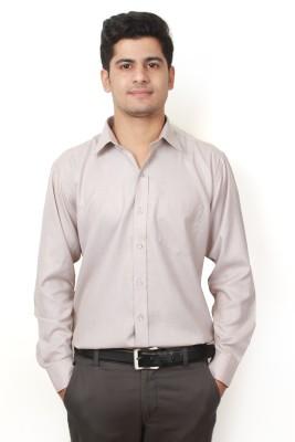 Frissk Men's Solid Formal Brown Shirt