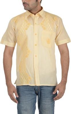 Sai Chikan Men's Embroidered Casual Yellow Shirt