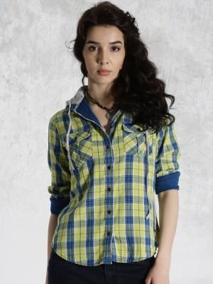 Roadster Women's Checkered Casual Yellow Shirt