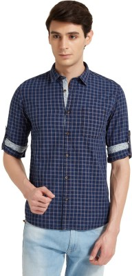 Flying Machine Men's Checkered Casual Dark Blue Shirt
