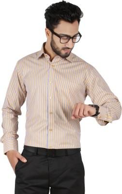 Hippoolife Men's Striped Formal Beige Shirt