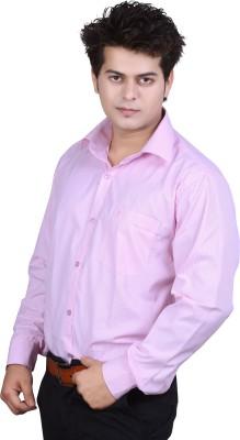 Ishin Designer Studio Men's Striped Casual Pink Shirt