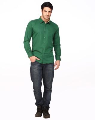Fire & Ice Men's Woven Casual Linen Green Shirt