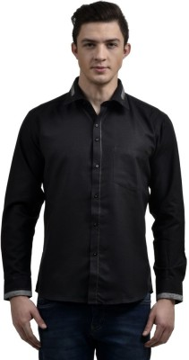 Future Plus Men's Self Design Party Black Shirt