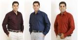 Siera Men's Solid Formal Maroon, Blue Sh...