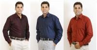 Siera Formal Shirts (Men's) - Siera Men's Solid Formal Maroon, Blue Shirt(Pack of 3)