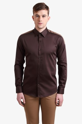 Alvin Kelly Men's Solid Casual Brown Shirt