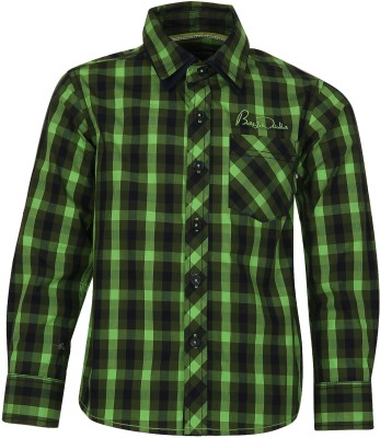 Bells and Whistles Boy's Checkered Casual Green Shirt