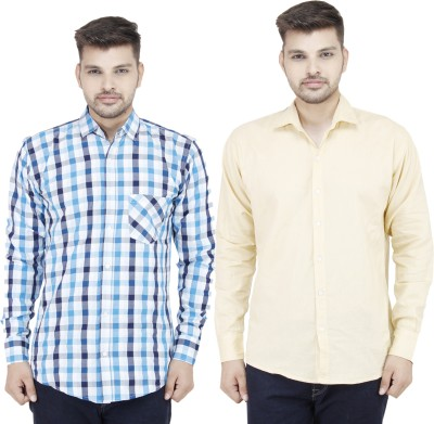 Movitex Men's Checkered Casual Blue, Beige Shirt