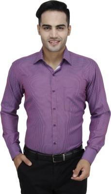 Da Vinci Men's Solid Formal Maroon Shirt