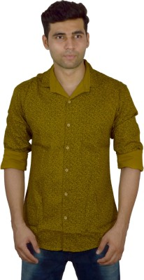 Studio Nexx Men's Printed Casual Yellow Shirt