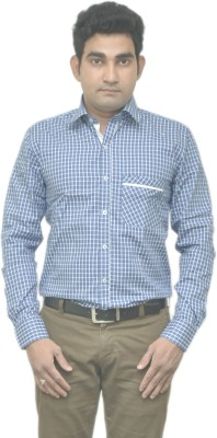 Benzoni Men's Checkered Formal Linen Blue, White Shirt