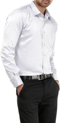 Genesis Men's Solid Party White Shirt