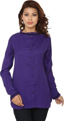 Lambency Women,s Solid Casual Blue Shirt