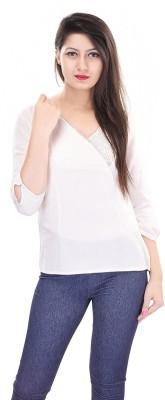 OVIYA Women,s Solid Casual White Shirt