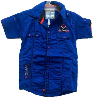 Angel Kids Boy's Solid Party Blue, Blue Shirt