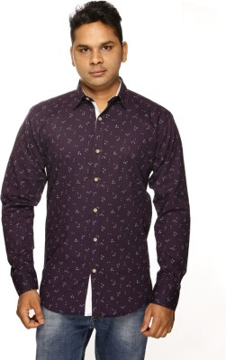 ALBI NYC Men's Printed Casual Purple Shirt