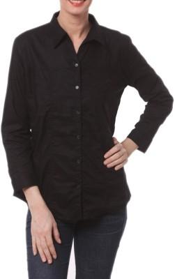 Meow Women's Solid Formal Black Shirt