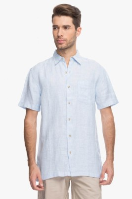Cotton World Men's Solid Casual Linen Blue Shirt